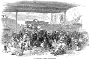 While the exact year and point of emigration are not yet known for William Ellis, it is likely he witnessed a scene much like the one depicted in The Embarkation, The London Illustrated, 6 July 1850 (public domain).