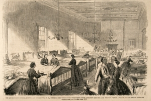 Volunteer Nurses Caring for the Sick and Wounded, Union Hotel, Georgetown, 6 July 1861 (Frank Leslie's Illustrated Newspaper. No. 294 Vol. 12, public domain).