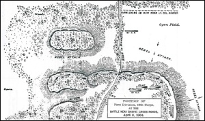 19th U.S. Army Map, Phase 3, Battle of Sabine Cross Roads/Mansifled (8 April 1864, public domain).