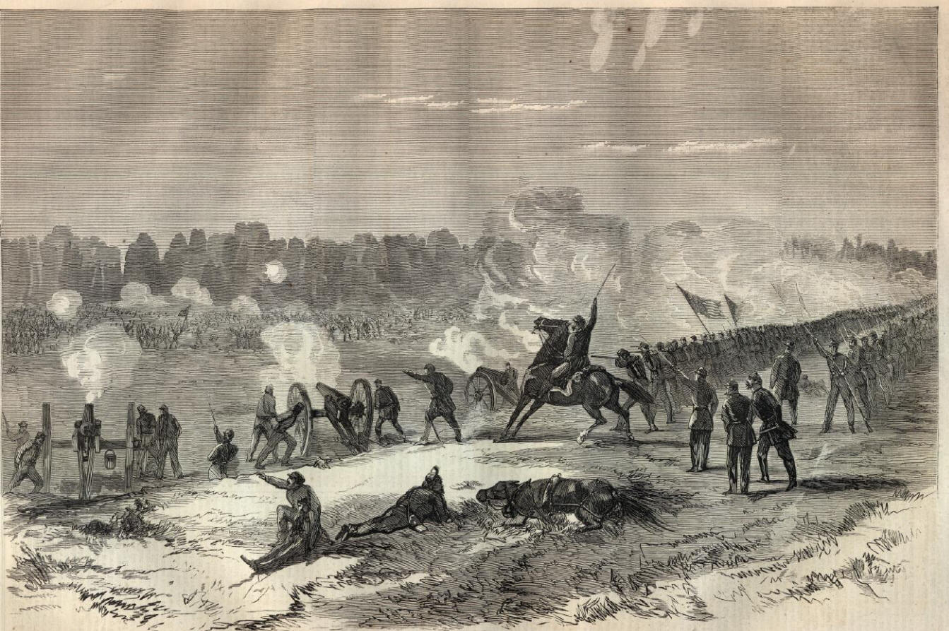 Battle of Pleasant Hill, Louisiana, 9 April 1864 (Harper's Weekly, 7 May 1864, public domain).