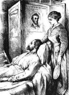Illustration of John, an Ailing Virginia Blacksmith, Hospital Sketches, Louisa May Alcott, c. 1870s (public domain).