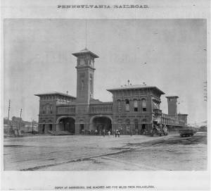 Pennsylvania Railroad Depot, Harrisburg, PA, c. 1874 (U.S. Library of Congress, public domain).