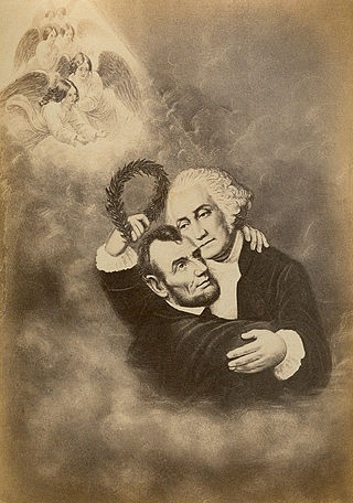 Washington & Lincoln (Apotheosis), J. A. Arthur, 1865 (public domain).