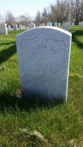 Military headstone of Private William Brecht, Co. K, 47th Pennsylvania Volunteers. (Dayton National Cemetery headstone photo used with permission of photographer, Wendy S. Hockeberry, copyright 2016).