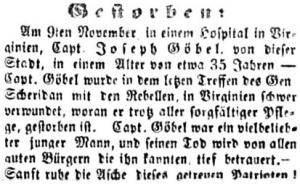 Death Notice of Capt. John Goebel, Co. G, 47th Pennsylvania Volunteers, Der Lecha Caunty Patriot, 15 November 1864 (public domain).