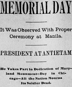 Memorial Day Headline, Ottumwa Courier, 31 May 1900 (public domain).