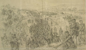 Sheridan's Army Following Early Up the Shenandoah Valley (Alfred Waud, Sep 1864, Library of Congress, public domain).