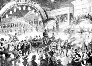 The 1863 Fourth of July celebrations in Key West, Florida likely resembled those captured in this image from January 1880 in which former U.S. President Ulysses S. Grant and General Philip Sheridan arrived at the Russell House on Duval Street (Florida Memory Project, public domain).