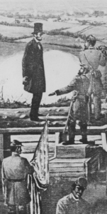 Pres. Abraham Lincoln at Fort Stevens, July 1864 (public domain illustration).