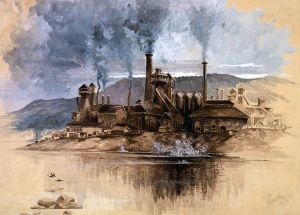 Bethlehem Steel Works (aka Bethlehem Steel Works, Joseph Pennell, May 1881, U.S. Library of Congress, public domain).