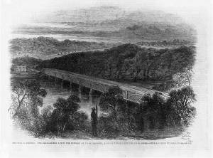 Chain Bridge Across the Potomac Above Georgetown Looking Toward Virginia, 1861 (The Illustrated London News, public domain).