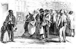 Freedmen's Bureau Issuing Rations to the Old and Sick, New Orleans, Louisiana (1867, Frank Leslie's Illustrated Newspaper, public domain).