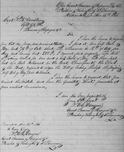 W. H. R. Hangen's Complaint to the Freedmen's Bureau re Its Failure to Provide His Full Forage Allowance for His Horse (10 December 1866, public domain).
