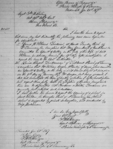 W. H. R. Hange's Freedmen's Bureau Report re Batteries Committeed by William Cooper Against Freedwoman Louisa Chapel and by Mary Jane Davis Against Freedman James Williams' Wife (20 January 1867, public domain).