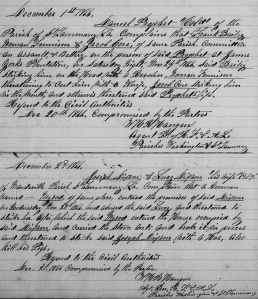 W. H. R. Hangen's Freedmen's Bureau Complaint Journal Updates re Batteries of Freedwoman Lucy Dixon by Myrod and of Freedman Daniel Prophet by Barley, Core an Harrison, St. Tammany Parish, LA (December 1867, public domain).