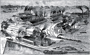 Joliet Iron and Steel Works, c. 1870s (Poor's Manual of the Railroads of the U.S., public domain).