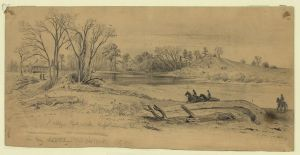 Kelly's Ford on the Rappahannock River (Edwin Forbes, 10 February 1864, U.S. Library of Congress, public domain)