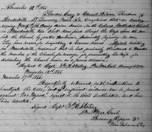Orders by Capt. W. H. Sterling, Provost Marshal General, U.S. Freedmen's Bureau, Louisiana to Agent W. H. R. Hangen to Investigate Freedmen's Church Shooting by Myrod, St. Tammany Parish, Louisiana (17 November 1866, public domain).
