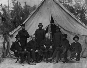 Chaplains, 9th Corps, U.S. Army, Petersburg, Virginia, October 1864. Although none of the chaplains were identified in this photo, the man standing second from left may be Rev. W. D. C. Rodrock, Chaplain, 47th Pennsylvania Volunteers. This man's image bears a striking similarity to Rodrock's December 1863 carte de visite (public domain, U.S. Library of Congress).