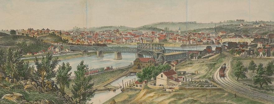 View of Easton (from Phillipsburg Rock, c. 1860-1862, James Fuller Queen, U.S. Library of Congress, public domain)