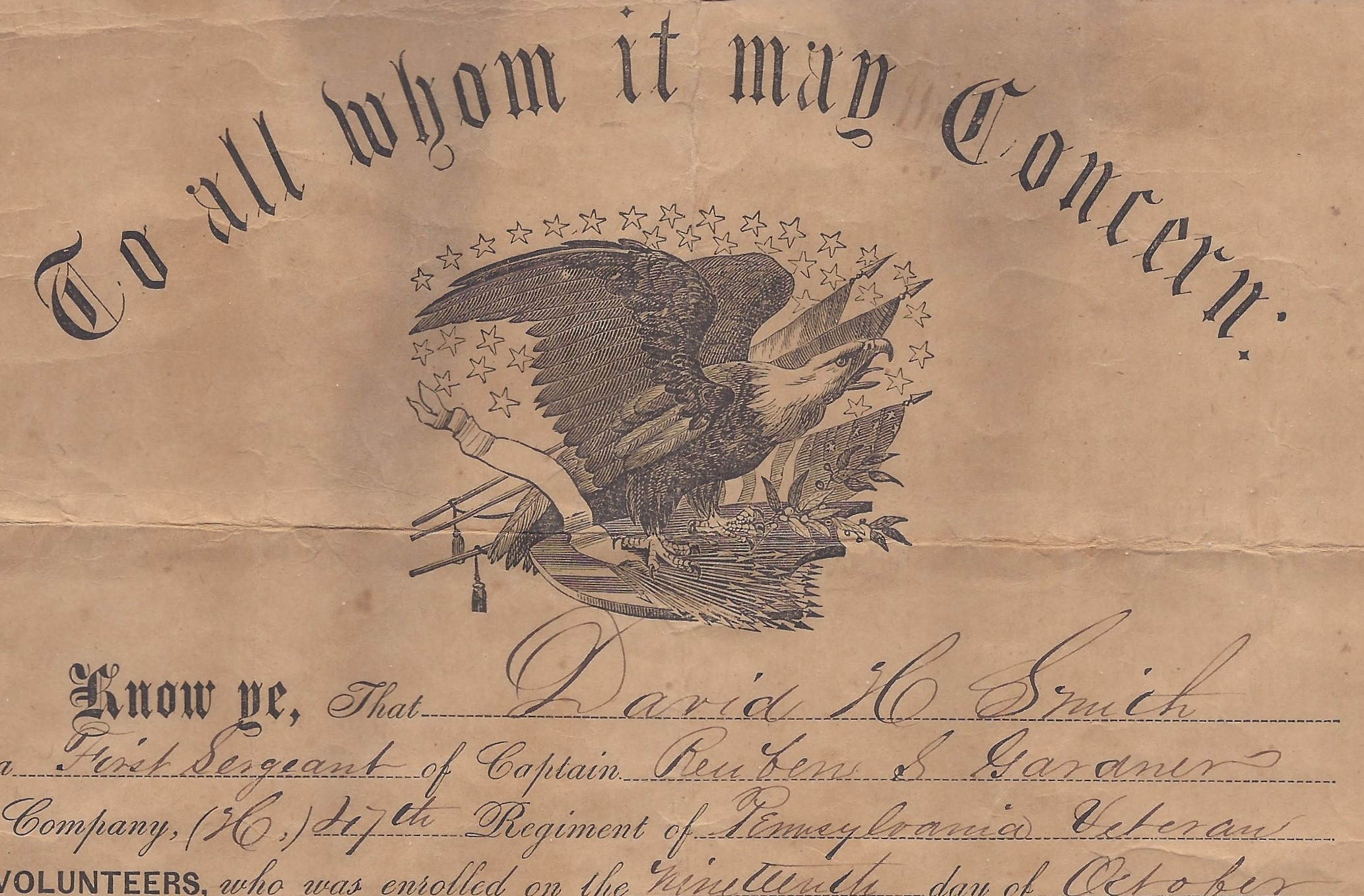 PHOTO ONLY,Union Defenders Certificate,American Civil War,Great Rebellion,c1863