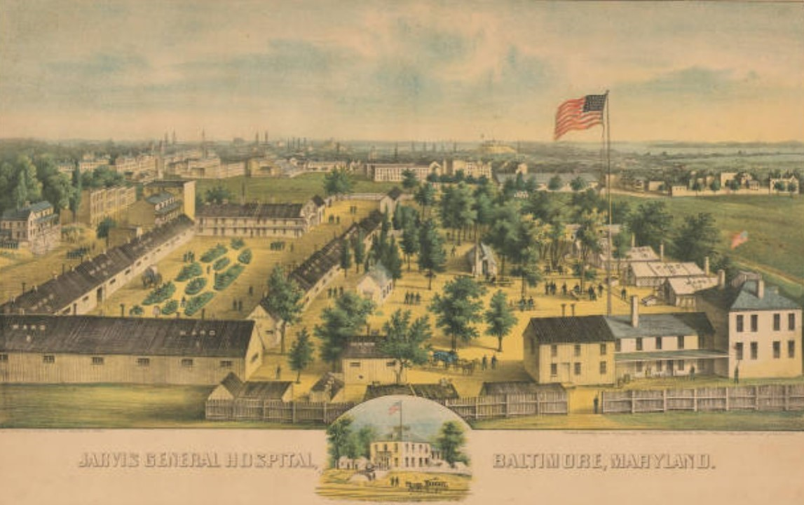 Jarvis General Hospital, Baltimore, Maryland, 1863_E. Sachse_pubdom